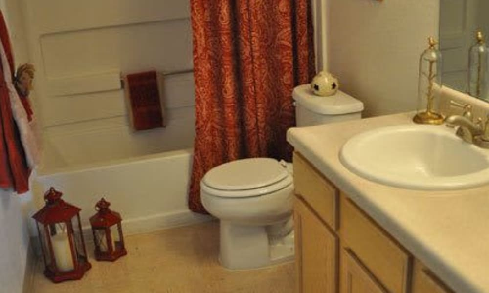 An apartment bathroom at The Phoenix Apartments in El Paso, Texas