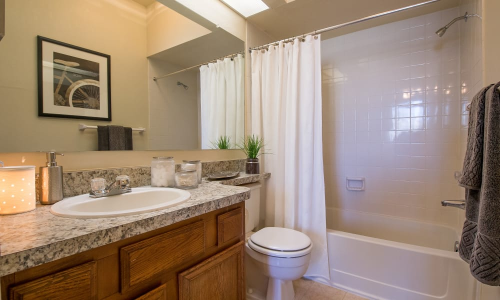 An apartment bathroom at The Courtyards in Tulsa, OK
