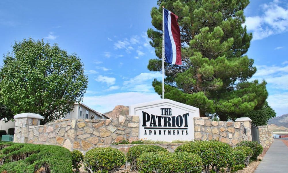 Front sign at The Patriot Apartments in El Paso, Texas
