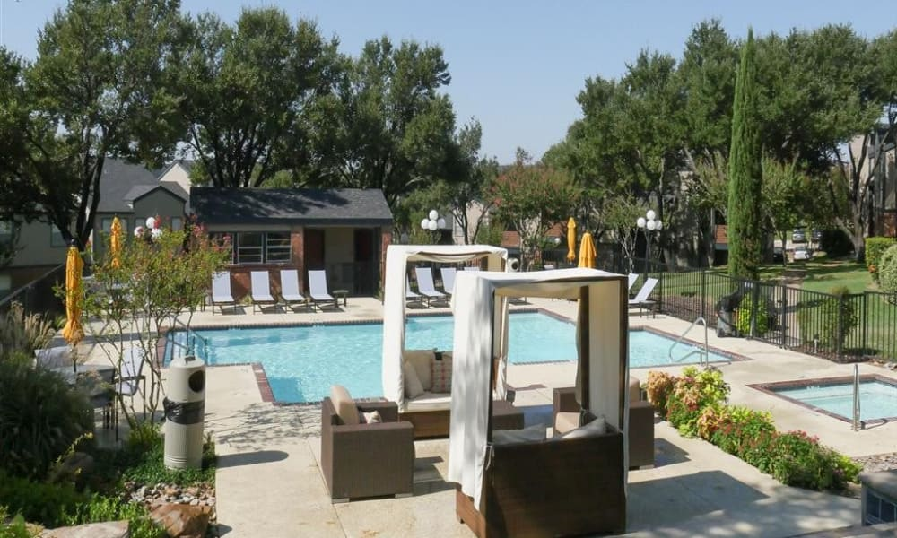 Sparkling swimming pool at Trails of Towne Lake in Irving, Texas