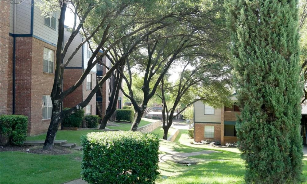 Trails of Towne Lake offers a beautiful community with green areas in Irving, Texas