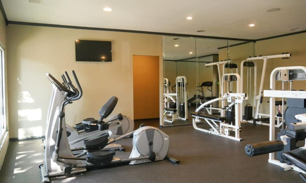 Enjoy a fully-equipped fitness center at Trails of Towne Lake in Irving, Texas