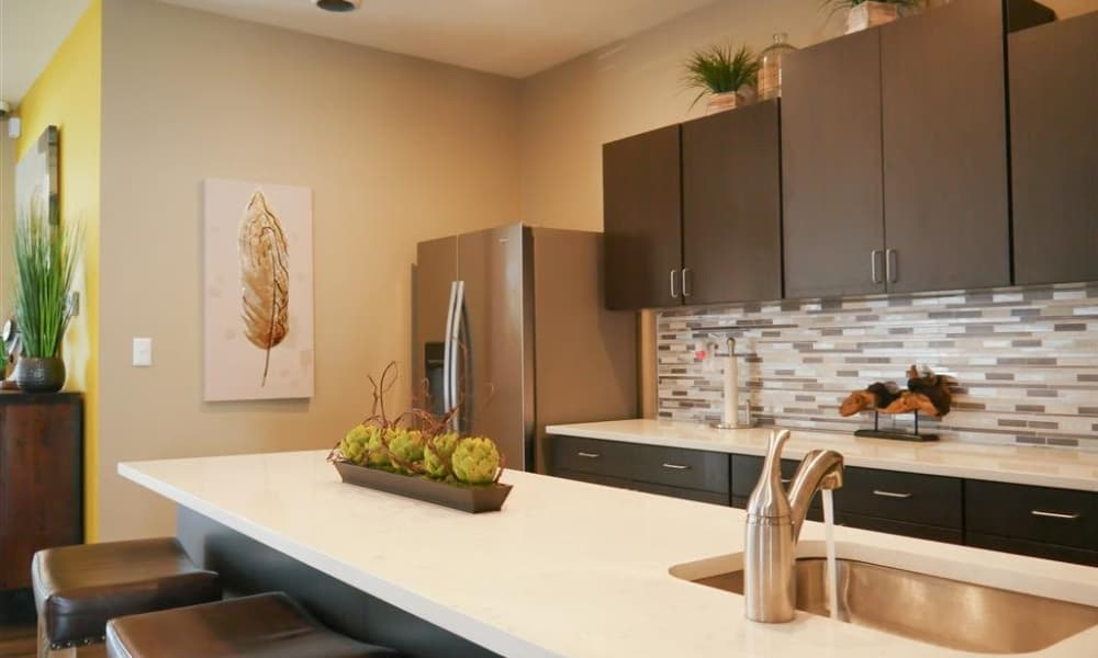Enjoy a luxury kitchen at Trails of Towne Lake in Irving, Texas