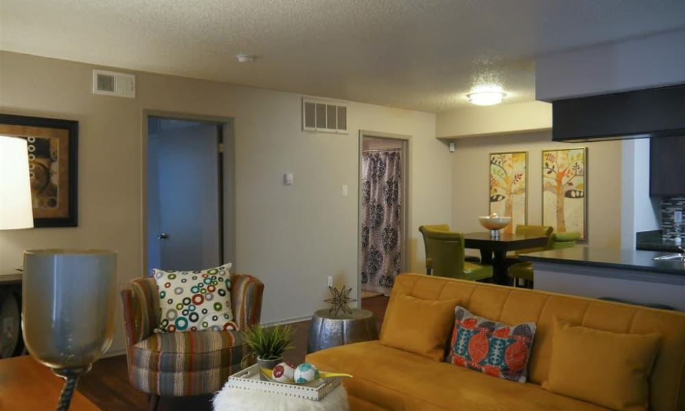 Trails of Towne Lake showcases a modern living room in Irving, Texas