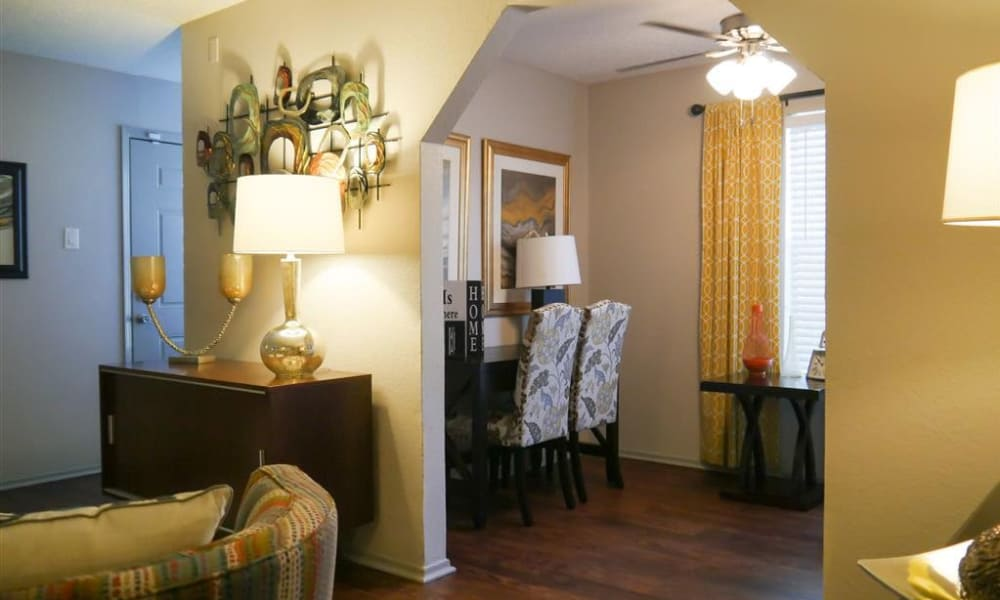 Spacious living room and dining area view at Trails of Towne Lake in Irving, Texas