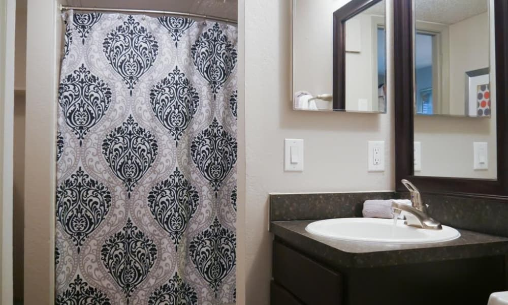 Enjoy a beautiful bathroom at Trails of Towne Lake in Irving, Texas