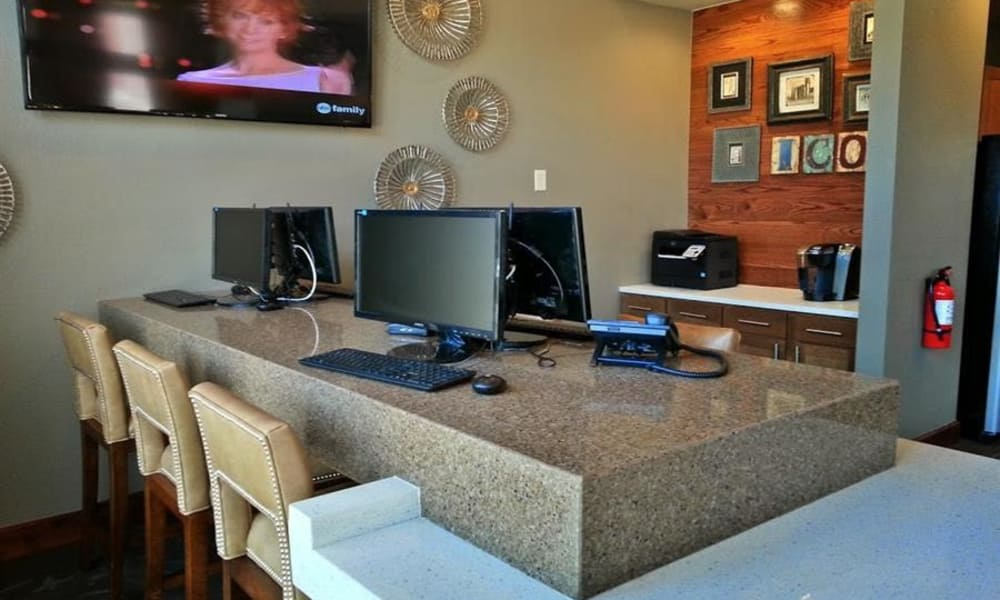 Computers for resident use at The Icon at Lubbock in Lubbock, Texas