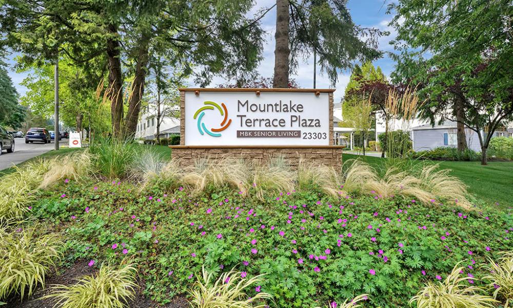 Welcome sign at Mountlake Terrace Plaza in Mountlake Terrace, Washington