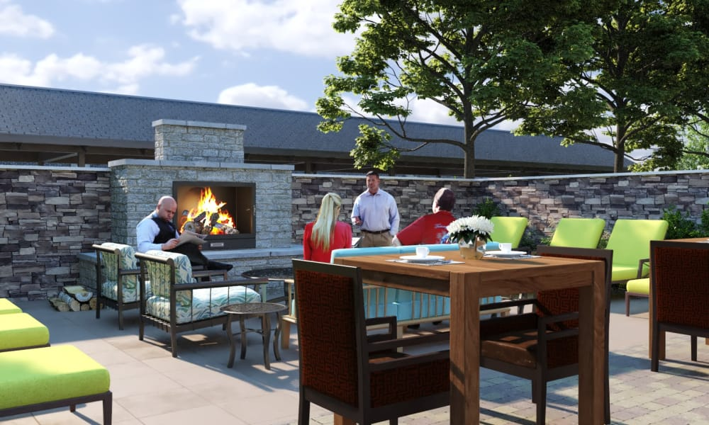 Outdoor fireside lounge at The Alexander in Bend, Oregon