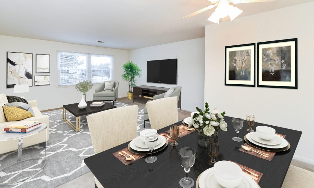 Woodcrest Apartment Homes offers a beautiful living room in Dover, Delaware