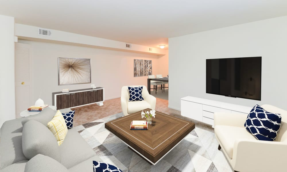 Modern living room at apartments in Dover, Delaware