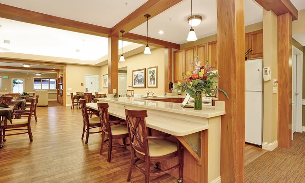 Common kitchen area at Seven Lakes Memory Care in Loveland, Colorado