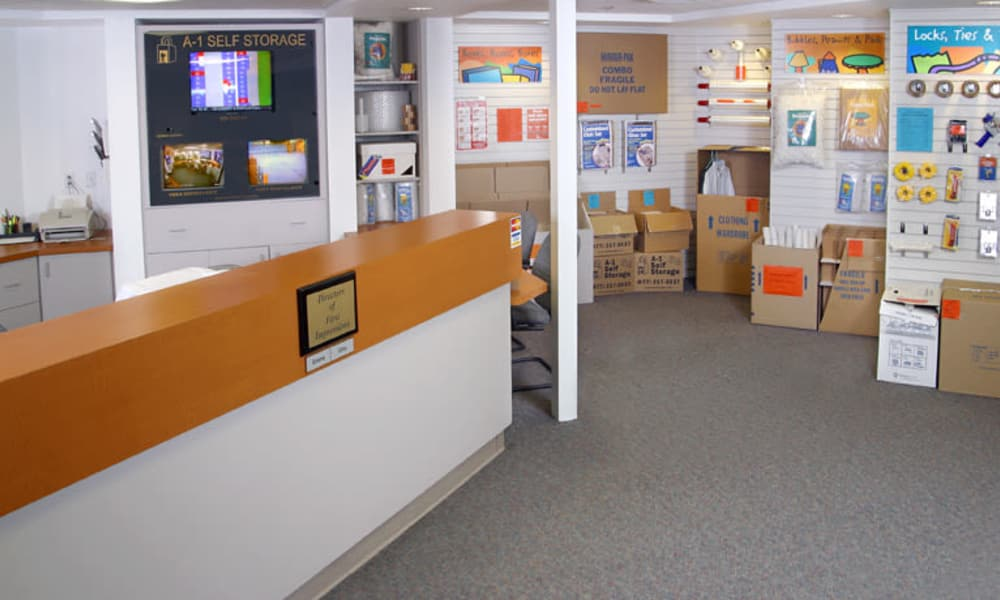 Front counter at A-1 Self Storage in National City, California