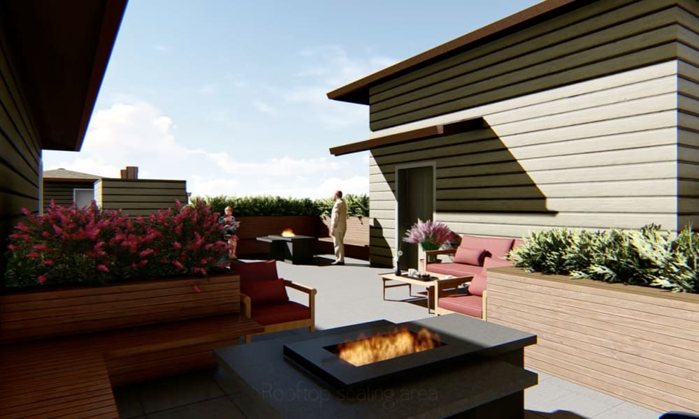 Rooftop lounge at The Alexander in Bend, Oregon