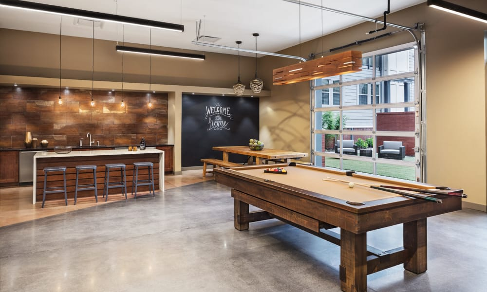 Our luxury apartments in Nashville, Tennessee showcase a pool table