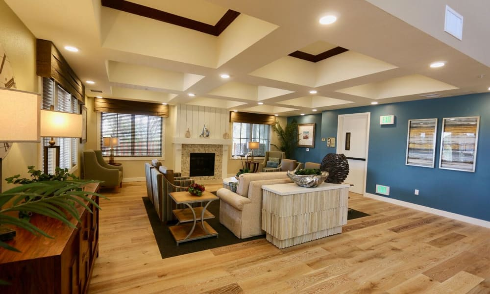 Lobby with luxurious hardwood floors at Westwind Memory Care in Santa Cruz, California