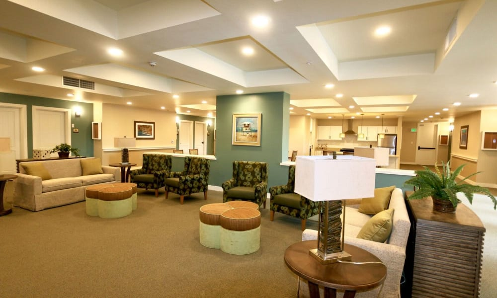 Common area and kitchen at Westwind Memory Care in Santa Cruz, California