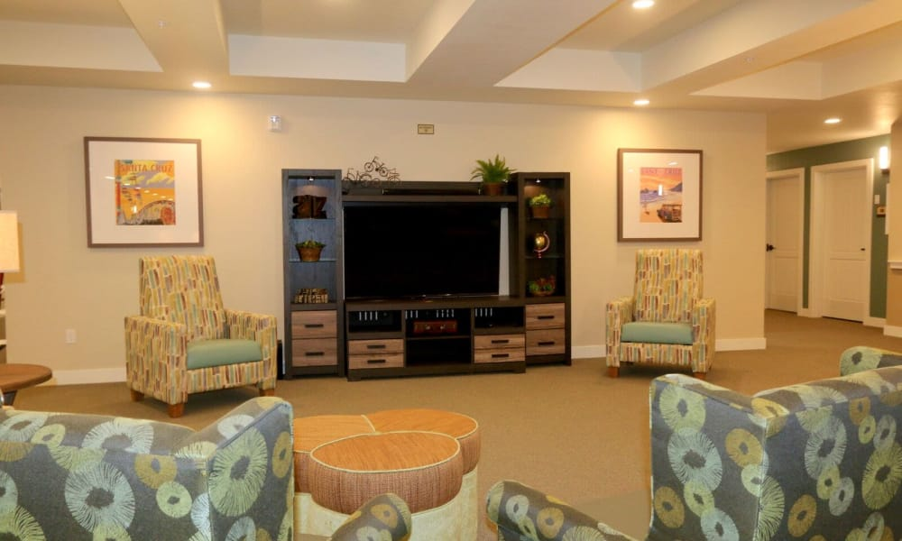 Media room at Westwind Memory Care in Santa Cruz, California