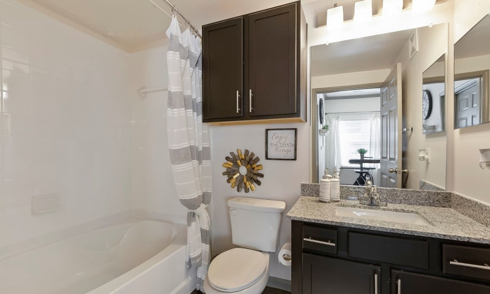 Beautiful model bathroom at Plum Creek Vue in Kyle, Texas