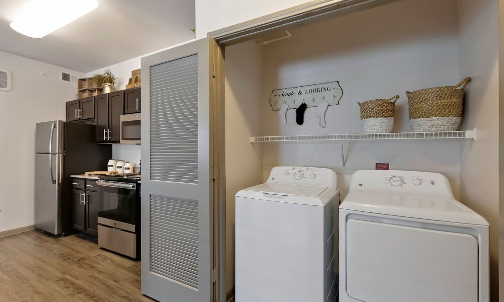 In-home washer and dryer at Plum Creek Vue in Kyle, Texas