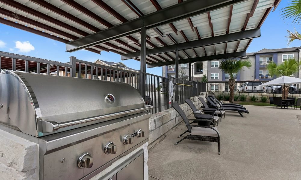 BBQ grill station at Plum Creek Vue in Kyle, Texas