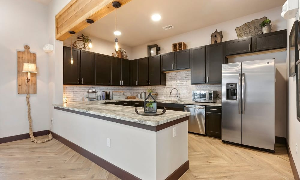 Clubhouse kitchen at Plum Creek Vue in Kyle, Texas