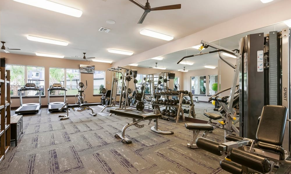 Modern fitness center at Plum Creek Vue in Kyle, Texas