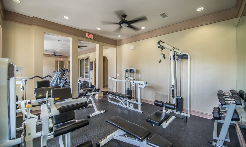 Weight lifting equipment at Archer Stone Canyon in San Antonio, Texas