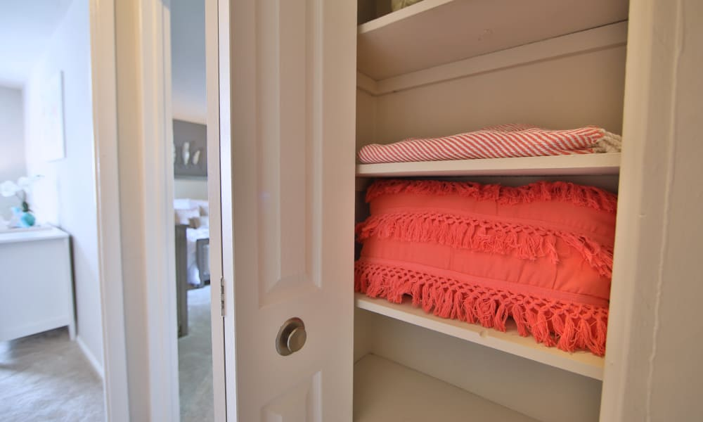 Linen closet at The Preserve at Owings Crossing Apartment Homes in Reisterstown, Maryland