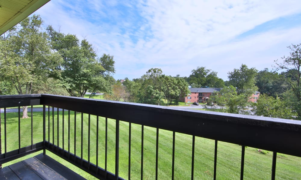 The Preserve at Owings Crossing Apartment Homes offers a patio in Reisterstown, Maryland