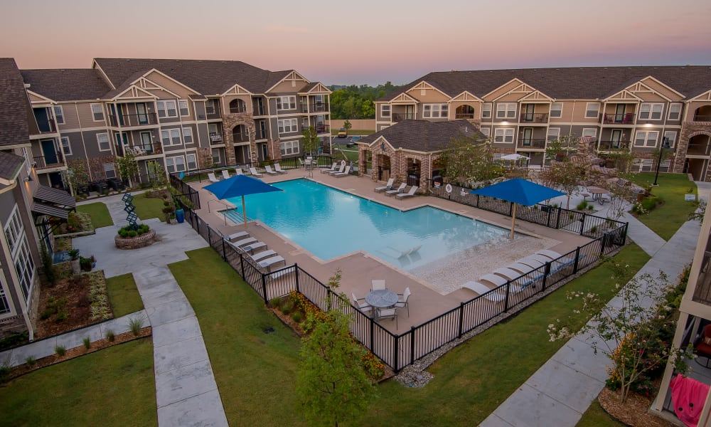 Aerial view of Cottages at Tallgrass Point Apartments in Owasso, Oklahoma