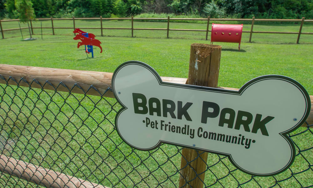 An onsite dog park at Country Hollow in Tulsa, OK