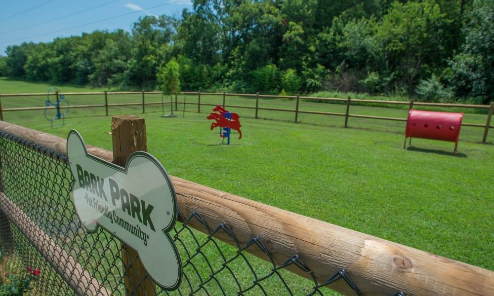 Spacious dog park at Country Hollow in Tulsa, Oklahoma