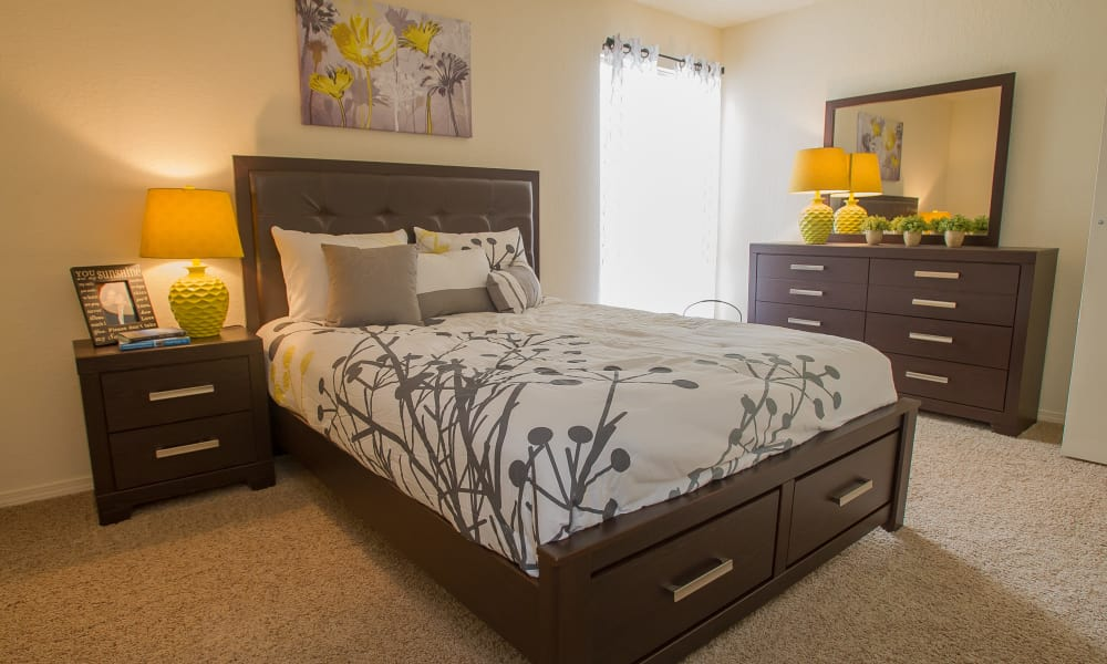 Modern bedroom at Country Hollow in Tulsa, Oklahoma