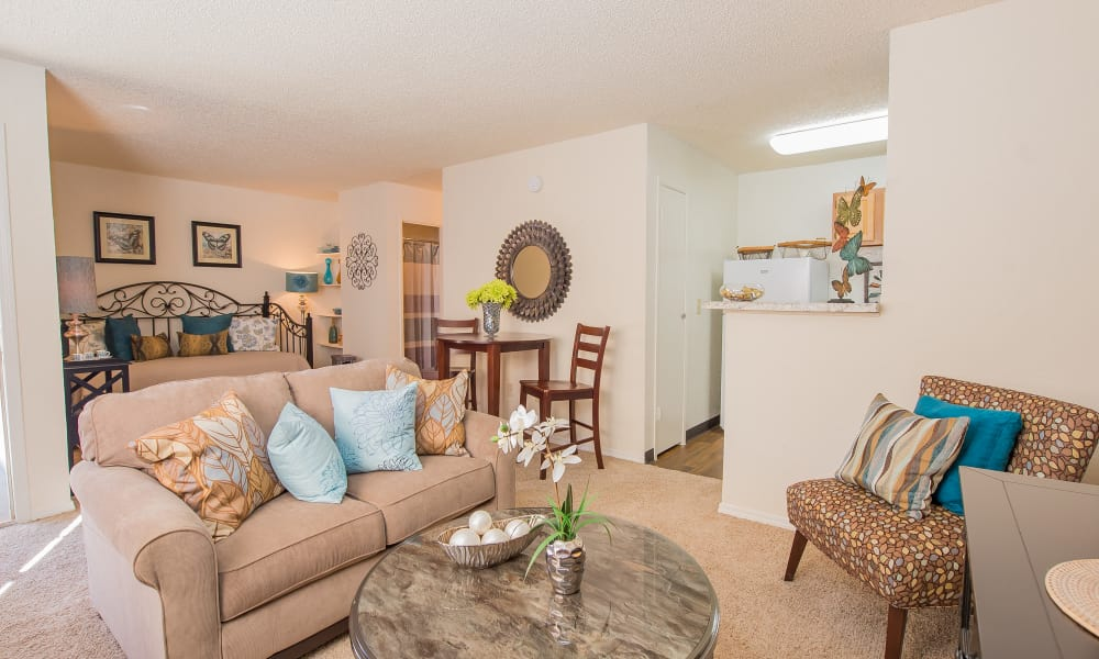 An apartment living room at Country Hollow in Tulsa, OK