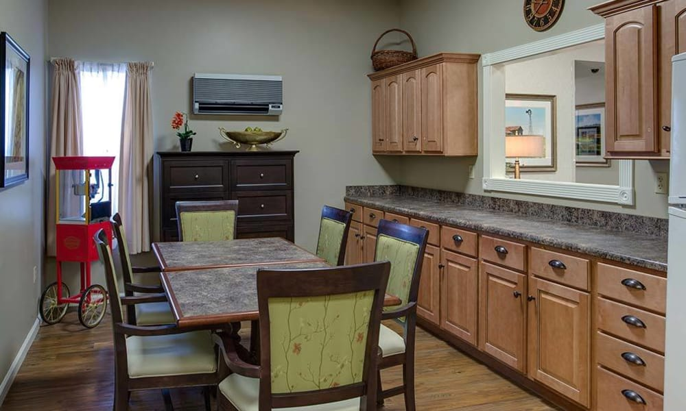 Resident kitchen at The Arbors at Glendale Gardens in Clinton, Missouri