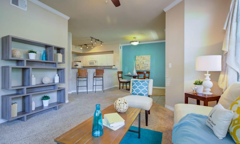 A living room that is great for entertaining at Resort at University Park in Colorado Springs, Colorado