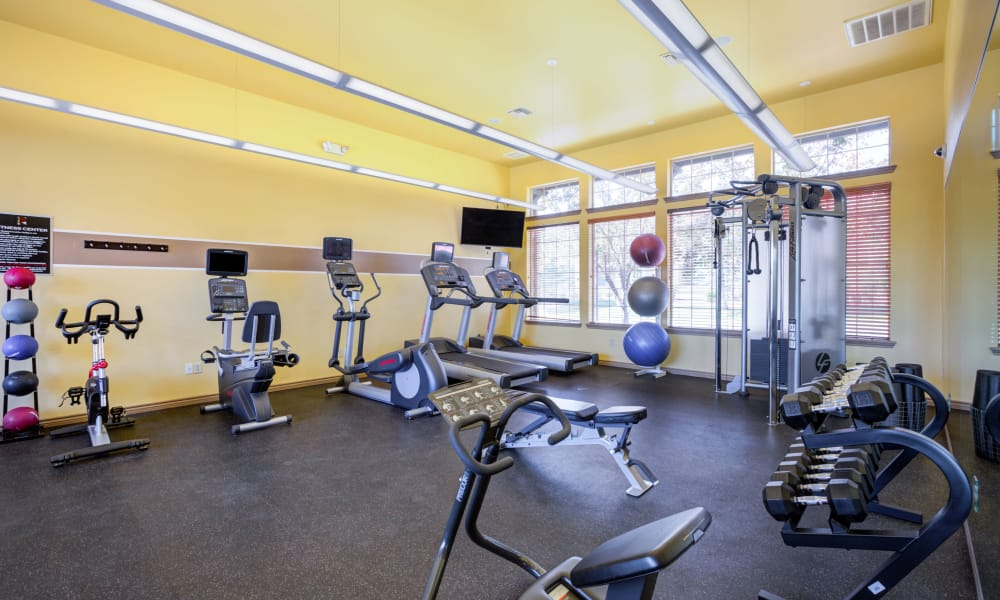 Modern fitness center at Resort at University Park in Colorado Springs, Colorado