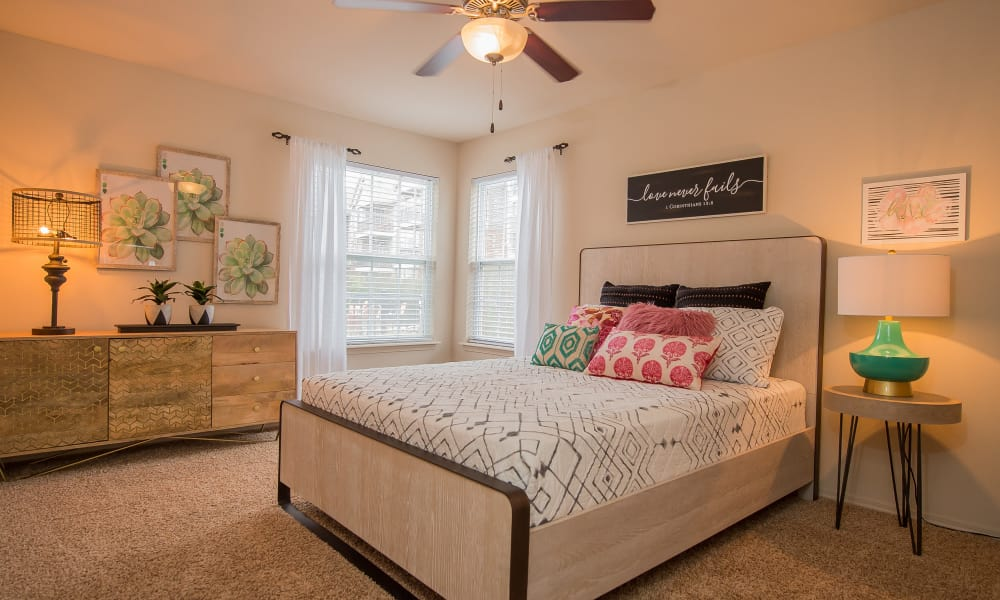 Luxury bedroom at The Park on Westpointe apartments in Yukon, Oklahoma