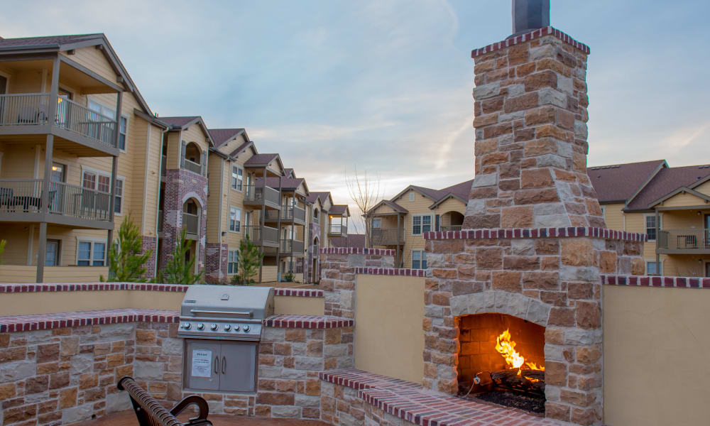 Outdoor fireplace at Park at Tuscany in Oklahoma City, Oklahoma