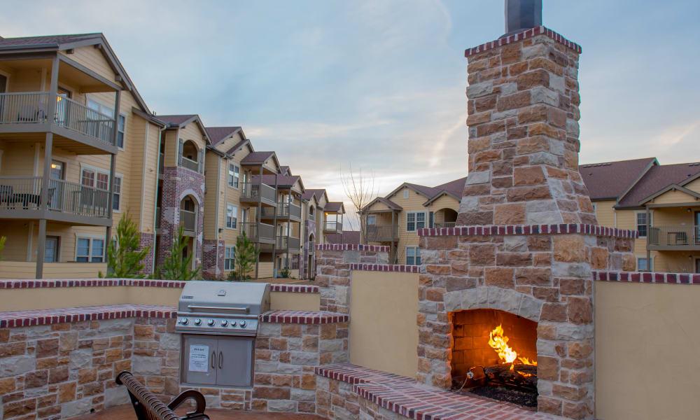 Outdoor fireplace at Park at Tuscany in Oklahoma City, Oklahoma