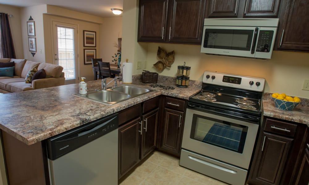 Modern kitchen at Park at Tuscany in Oklahoma City, Oklahoma