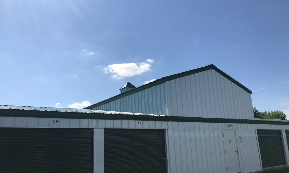 Exterior of storage units on a sunny day at New Albany Self Storage in New Albany, Ohio