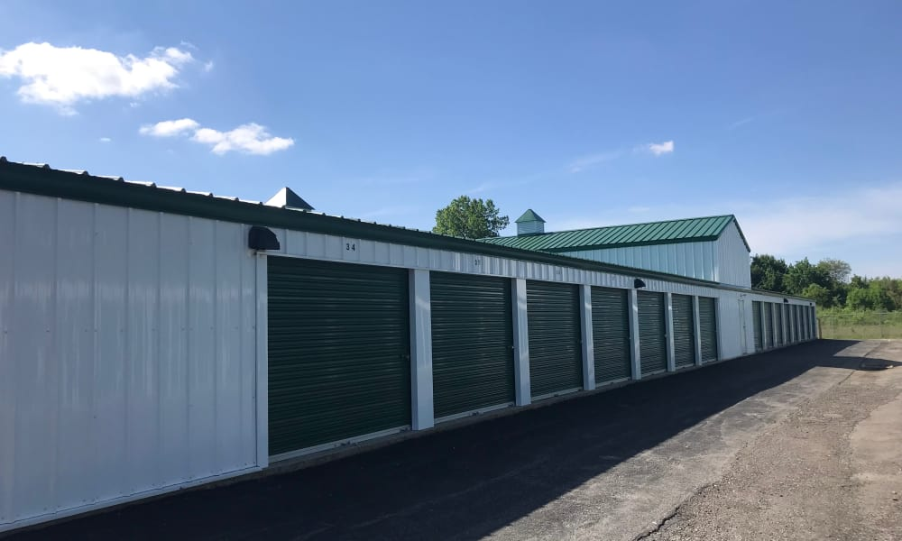 Exterior of storage units at New Albany Self Storage in New Albany, Ohio