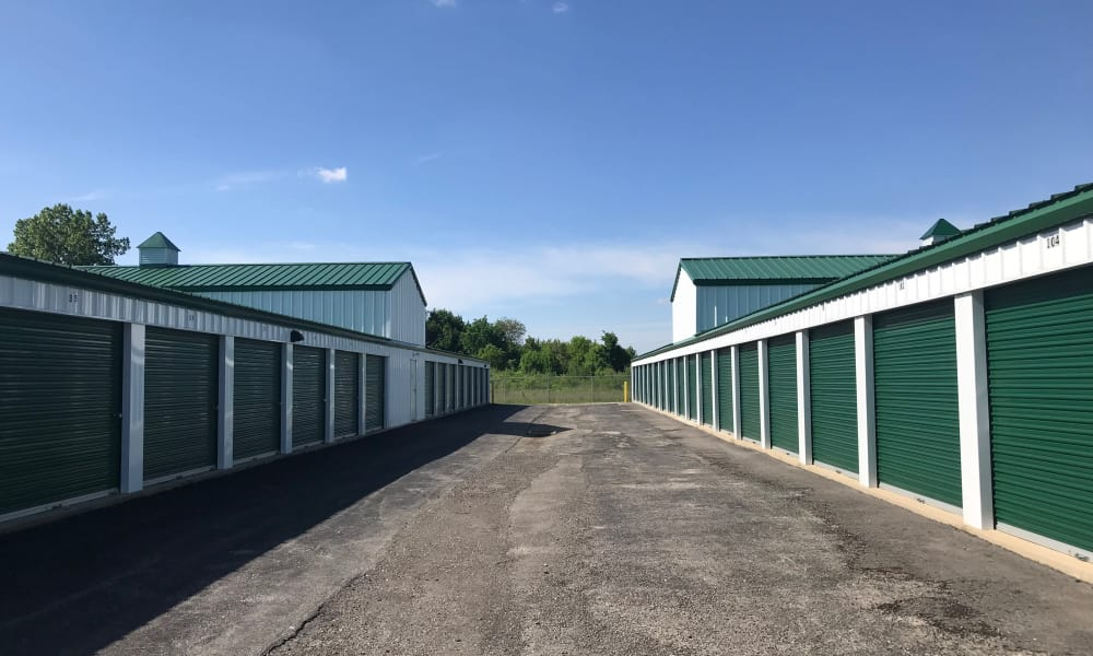 Wide aisles between storage units at New Albany Self Storage in New Albany, Ohio
