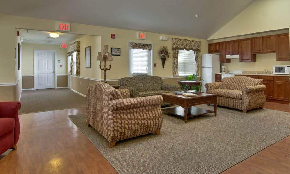 Reception area at The Arbors at Parkside in Rolla, Missouri