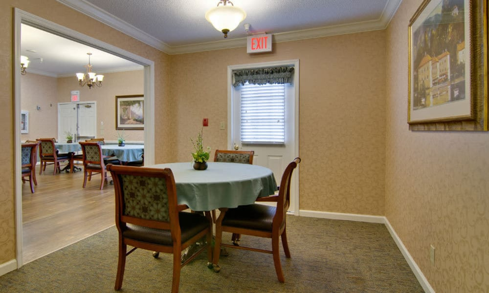Private dining space by the exit at The Arbors at Parkside in Rolla, Missouri