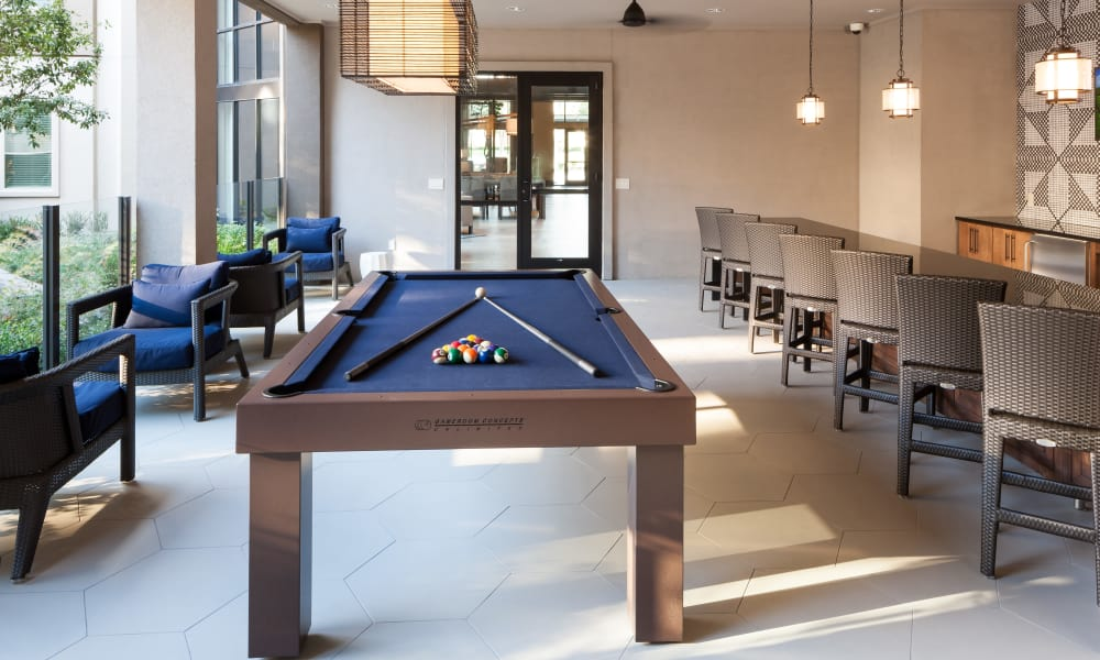 Pool table at Berkshire Amber in Dallas, Texas