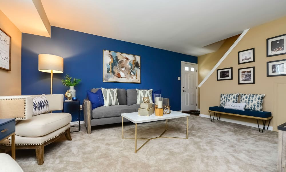 Beautiful Living Room at Montgomery Manor Apartments & Townhomes in Hatfield, Pennsylvania