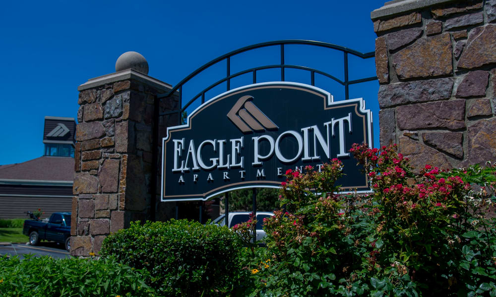 Front signage at Eagle Point Apartments in Tulsa, Oklahoma
